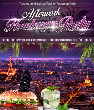 AFTERWORK HAMBURGER PARTY SUR LES TOITS DE PARIS (TERRASSE GEANTE)