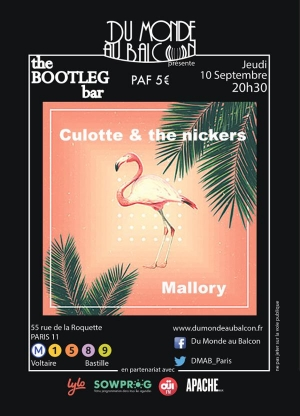 Mallory + Culotte & The Nickers au BOOTLEG BAR