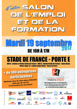 Salon de l 39 emploi et de la formation 2017 stade de for Salon de l orientation paris 2017