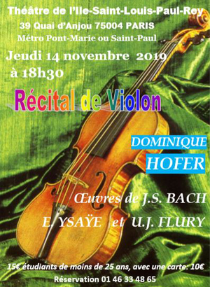 Dominique Hofer Récital de violon