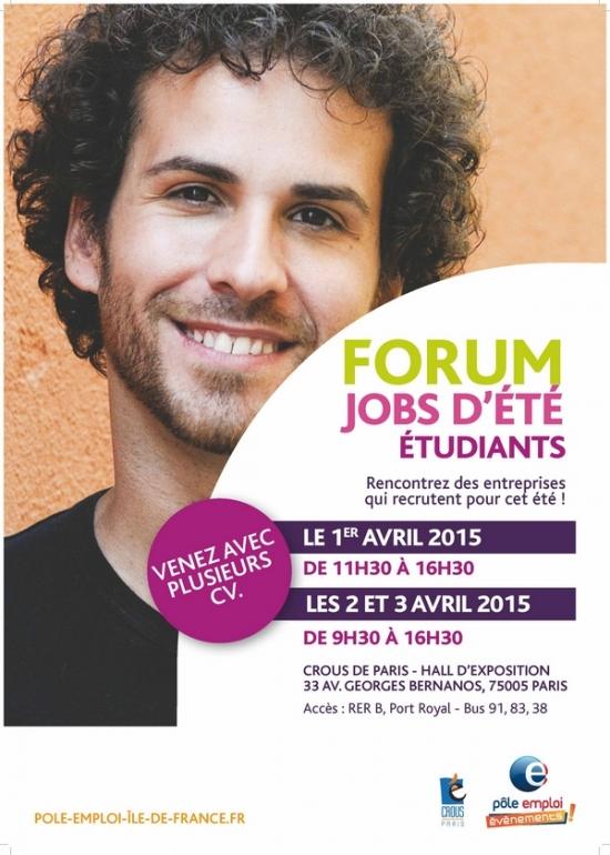 forum jobs d 39 t tudiants 2015 crous de paris paris 75005 sortir paris le parisien. Black Bedroom Furniture Sets. Home Design Ideas