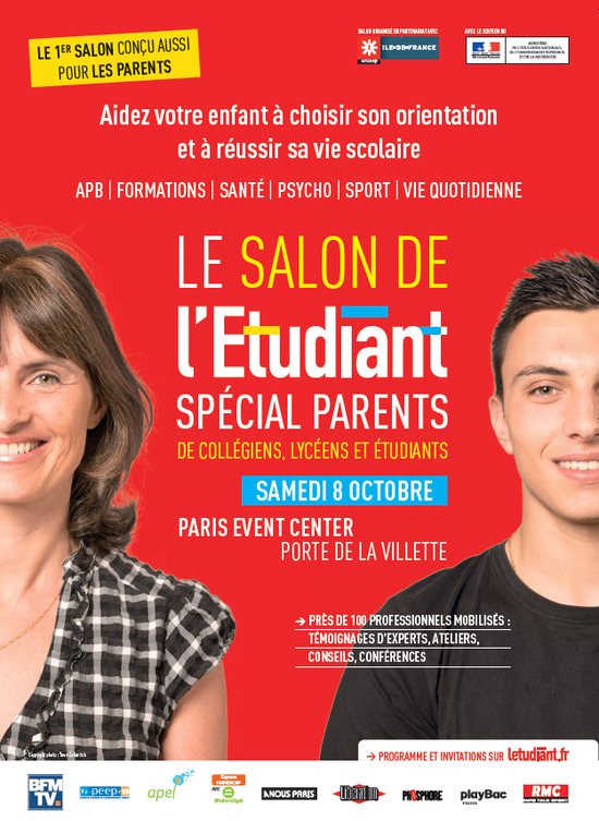 Salon de l 39 etudiant sp cial parents paris event center for Salon de l etudiant bordeaux