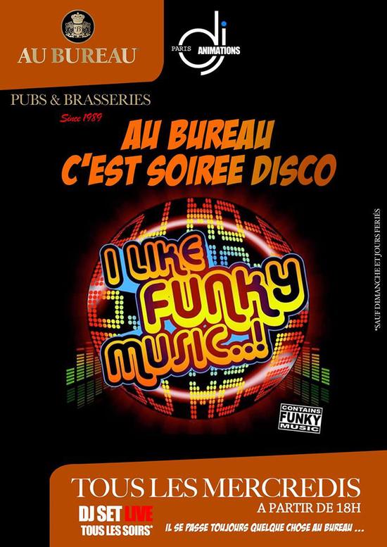 happy dj hour funk disco by dj paris animations au bureau paris champs lys es paris 75008. Black Bedroom Furniture Sets. Home Design Ideas