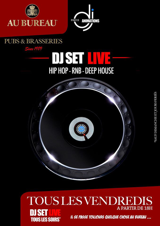 dj set live au bureau by dj paris animations au bureau paris champs lys es paris 75008. Black Bedroom Furniture Sets. Home Design Ideas