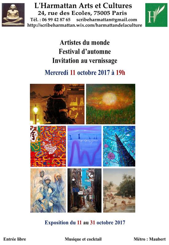 Festival d automne du scribe galerie l 39 harmattan des arts et des cultures paris 75005 - Expo paris octobre 2017 ...