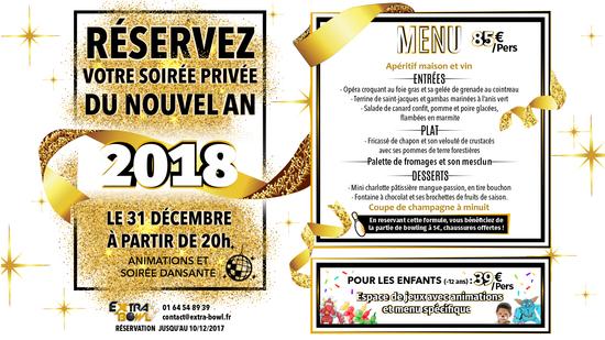 Reveillon du jour de l 39 an a l 39 extra bowl extra bowl ballainvilliers 91160 sortir paris - Idee repas reveillon 31 decembre ...